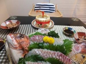 大人料理メニューは鯛の姿造り